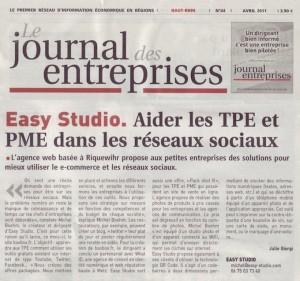 Article sur l'Agence Easy-Studio dans le Journal des Entreprises