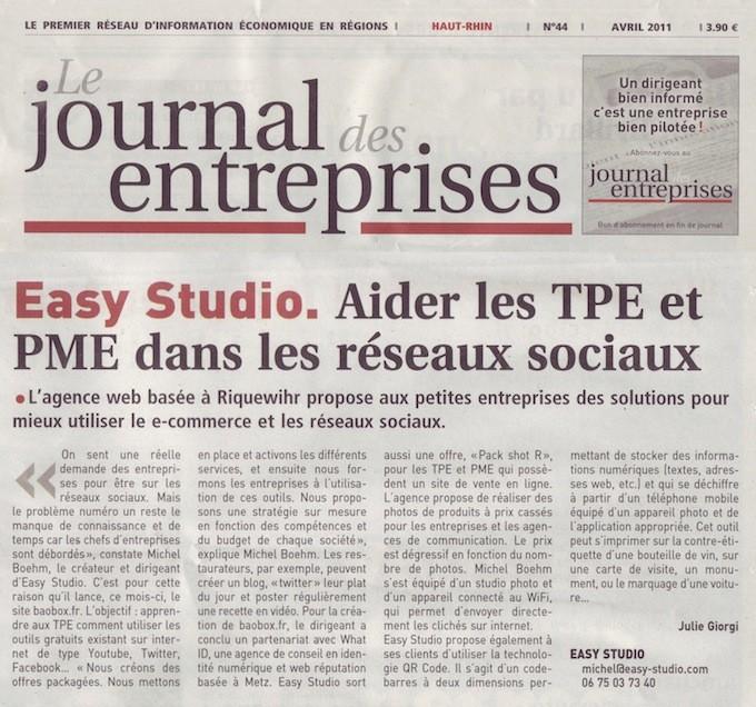 Easy studio dans le journal des entreprises aider les tpe et pme sur les r - Le journal de l agence ...