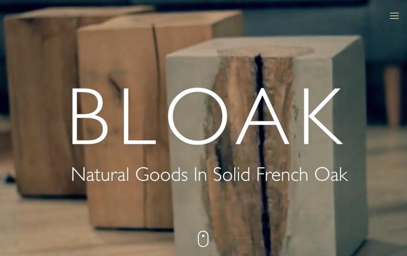 Visuel du site internet e-commerce créé en responsive design pour la marque alsacienne Bloak qui réalise du mobilier artisanal en chêne & béton