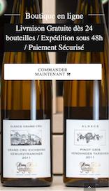 Aperçu sur mobile du site internet e-commerce créé en responsive design pour les Vins d'Alsace Ginglinger à Eguisheim
