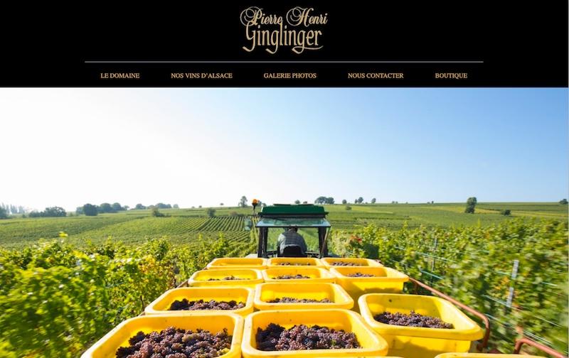Visuel du site internet e-commerce créé en responsive design pour les Vins d'Alsace Ginglinger à Eguisheim