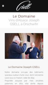 Aperçu sur mobile du site internet créé en responsive design pour les Vins d'Alsace Gsell à Orschwihr