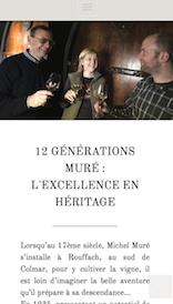 Aperçu sur mobile du site internet e-commerce créé en responsive design pour le site des Vins d'Alsace Muré