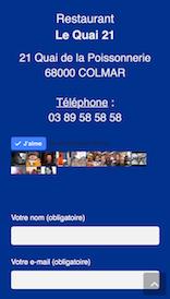 Aperçu sur mobile du site internet créé en responsive design pour le Restaurant Quai 21 à COlmar en Alsace