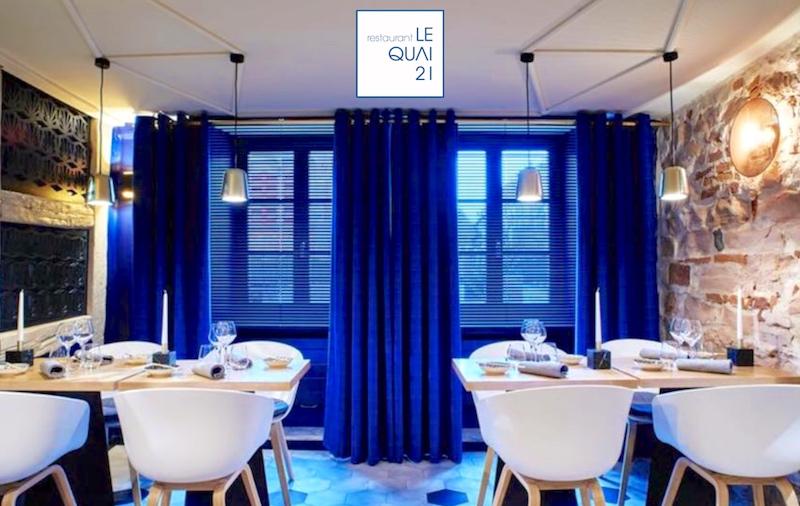 Visuel du site internet créé en responsive design pour le Restaurant Quai 21 à COlmar en Alsace