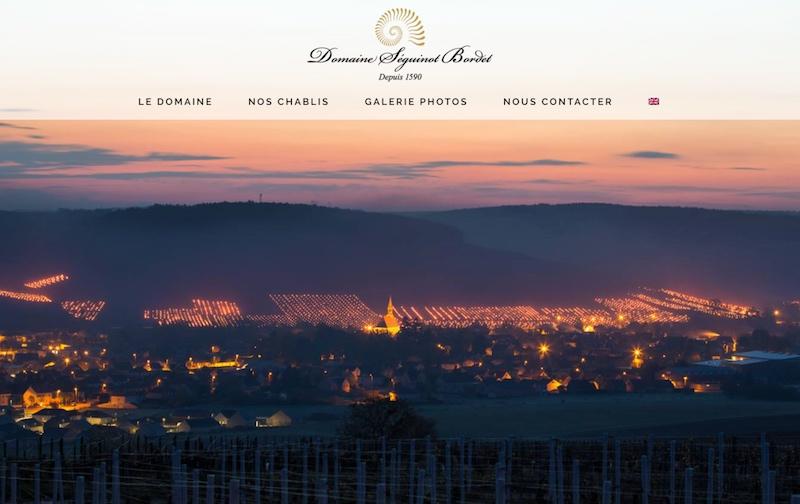 Visuel du site internet créé en responsive design pour le domaine Seguinot Bordet qui produit des vins de chablis